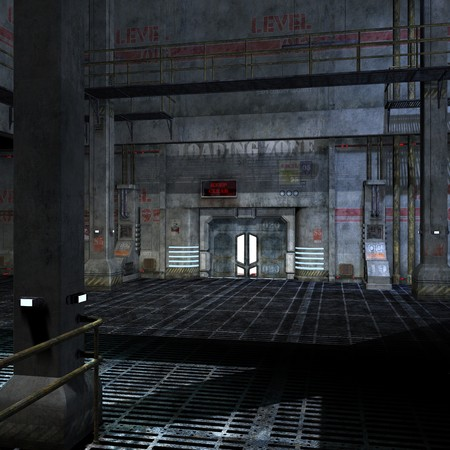 dark and scary place in a scifi setting. 3D rendering   photo