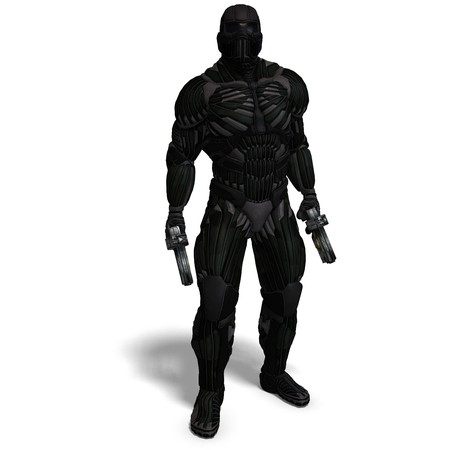 rapid fire: science fiction male character in futuristic suit. 3D rendering  Stock Photo