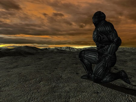 spotter: science fictional character in a strange and hostile world. 3D rendering over background scene
