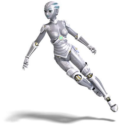 robot met�lico sexy femenino. Procesamiento de 3D