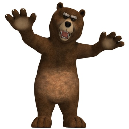 terrifying: cute and funny toon bear. 3D rendering