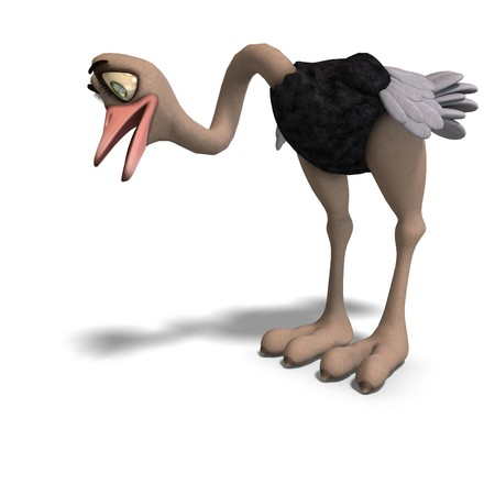 forage: cute toon ostrich gives so much fun. 3D rendering