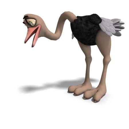 toon cute avestruz da tan divertido. Procesamiento de 3D
