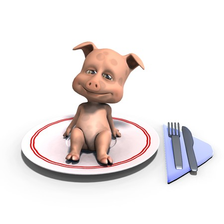 flesh: cute and funny cartoon pig served on a dish as a meal. 3D rendering