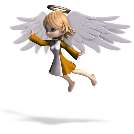 angel cartoon: cute cartoon angel with wings and halo. 3D rendering Stock Photo