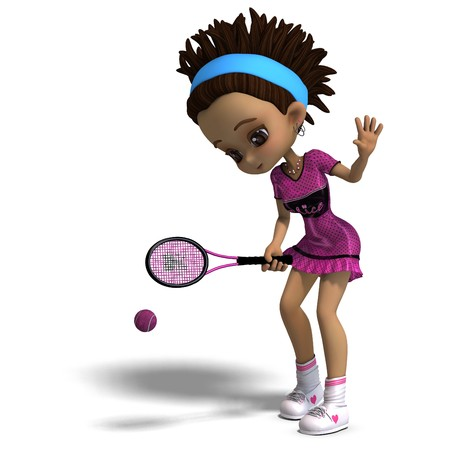 dinky: sporty toon girl in pink clothes plays tennis. 3D rendering