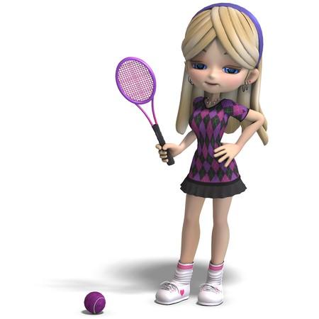 cute girl with long hair plays tennis. 3D rendering
