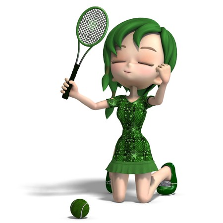 cartoon girl in green clothes with racket and tennis ball. 3D rendering   photo
