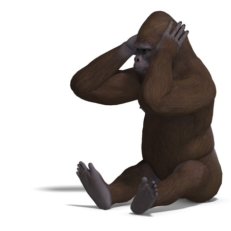 louse: gorilla cant hear. 3D rendering with clipping path and shadow over white