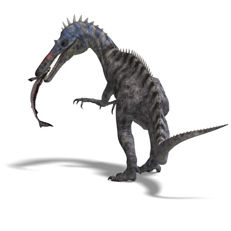 enormous: Dinosaur Suchominus. 3D rendering with shadow over white