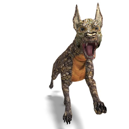 saurian: dangerous alien dog with lizard skin. 3D rendering with shadow over white