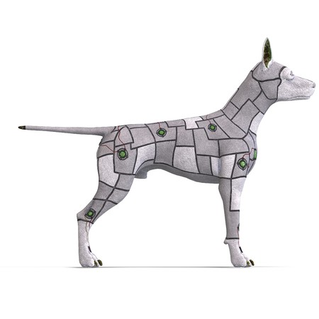 roboter: electronical scifi dog of the future. 3D rendering with  shadow over white Stock Photo