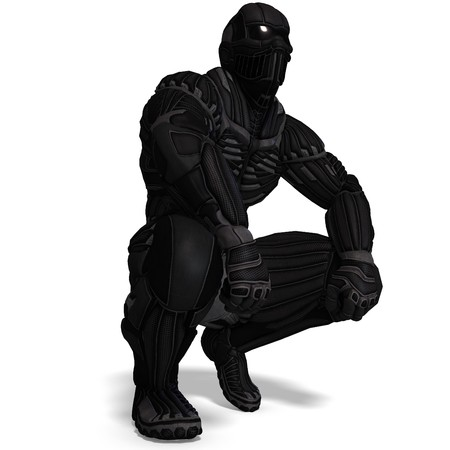 science fiction male character in futuristic suit. 3D rendering with  shadow over white