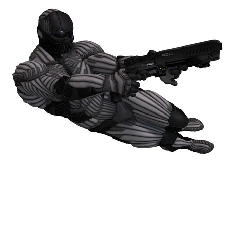 rapid fire: science fiction male character in futuristic suit. 3D rendering with  shadow over white
