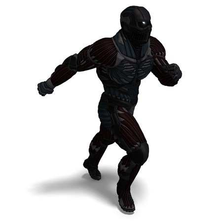 diehard: science fiction male character in futuristic suit. 3D rendering with shadow over white