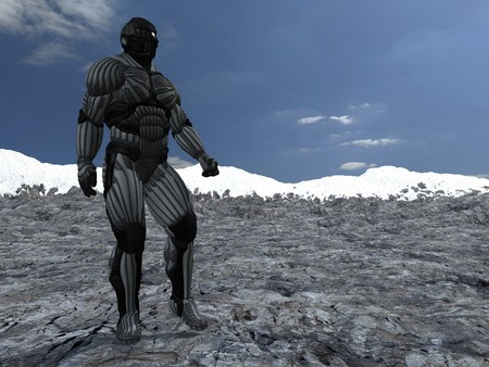dissimilarity: science fictional character in a strange and hostile world. 3D rendering over background scene