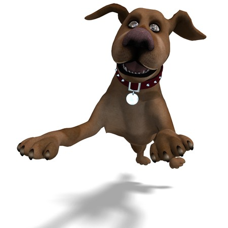 saltation: the cute and funny toon dog is a bit silly. 3D rendering with shadow over white