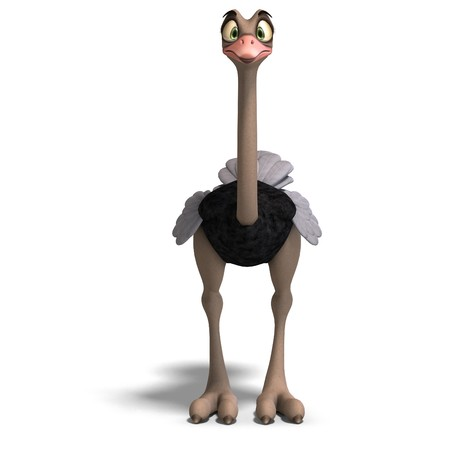 peering: cute toon ostrich gives so much fun. 3D rendering with  shadow over white Stock Photo