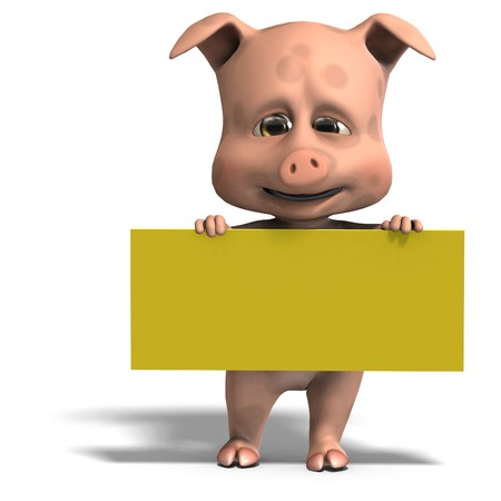 carnivora: invitation from a cute and funny toon pig. 3D rendering with  shadow over white