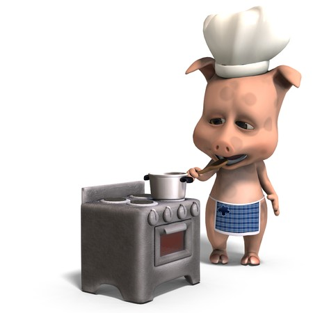 the cook is a cute toon pig. 3D rendering with  shadow over white photo