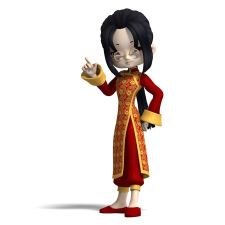 urge: sweet cute cartoon chinagirl with glasses and red clothes. 3D rendering with  shadow over white Stock Photo