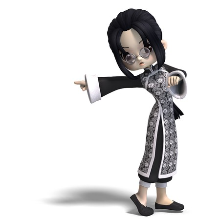 funny cartoon girl from china. 3D rendering with  shadow over white photo