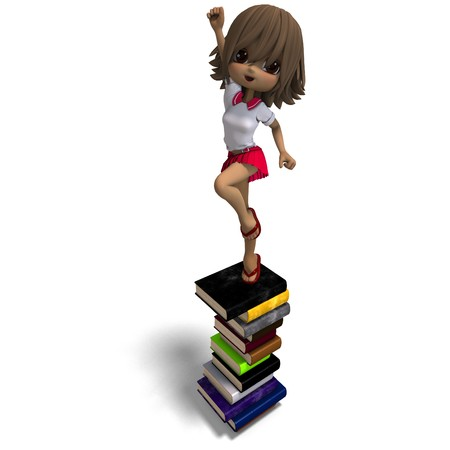 cute little cartoon school girl with many books. 3D rendering with  shadow over white photo