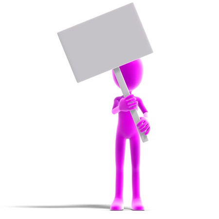 plushy: symbolic 3d male toon character show something with a blank sign. 3D rendering shadow over white Stock Photo