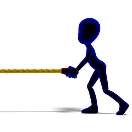 symbolic 3d male toon character pull a long rope. 3D rendering with  shadow over white photo
