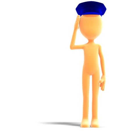 symbolic 3d male toon character with police hat. 3D rendering shadow over white Stock Photo - 7431159