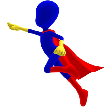 symbolic 3d male toon character as a super hero. 3D rendering with shadow over white Stock Photo - 7431165