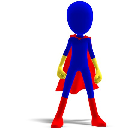 braver: symbolic 3d male toon character as a super hero. 3D rendering with shadow over white Stock Photo