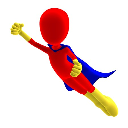 symbolic 3d male toon character as a super hero. 3D rendering with shadow over white Stock Photo - 7431168