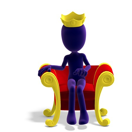 the sovereign: symbolic 3d male toon character as a king on his throne.3D rendering with  shadow over white