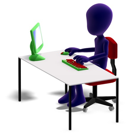 graft: symbolic 3d male toon character working with a computer. 3D rendering with shadow over white