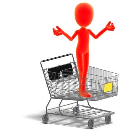 symbolic 3d male toon character goes shopping. 3D rendering with  shadow over white photo