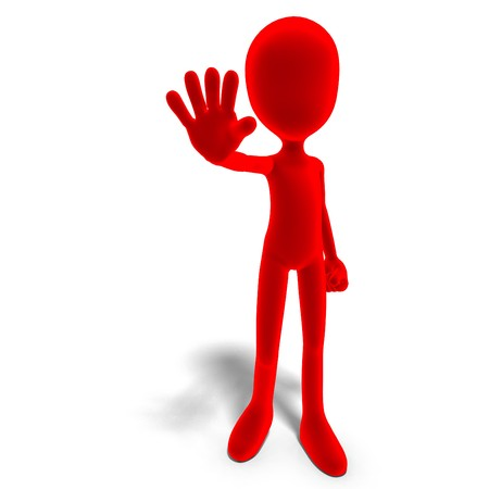 carefulness: symbolic 3d male toon character says stop. 3D rendering with  shadow over white Stock Photo