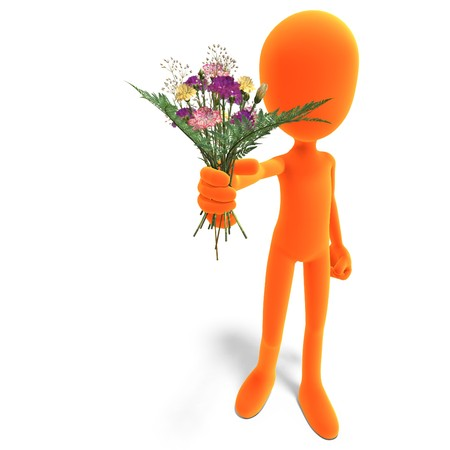 symbolic 3d male toon character give you flowers. 3D rendering with shadow over white