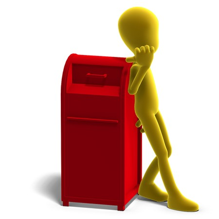 symbolic 3d male toon character say that you should drop your mail here. 3D rendering with shadow over white photo