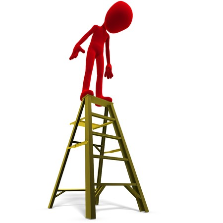 carefulness: 3d male icon toon character on top of a ladder. 3D rendering with shadow over white
