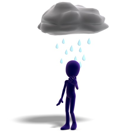 3d male icon toon character standing in the rain. 3D rendering  shadow over white photo