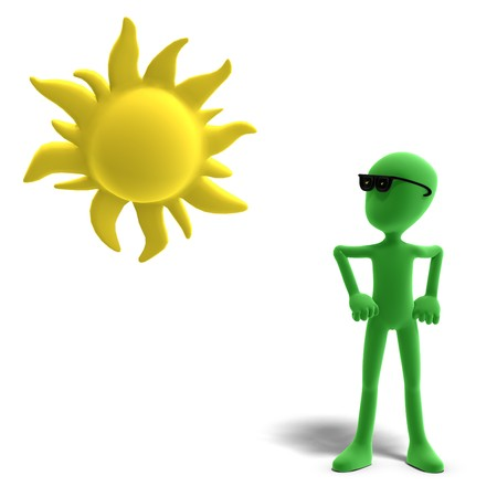 3d male icon toon character loves the sun. 3D rendering with shadow over white