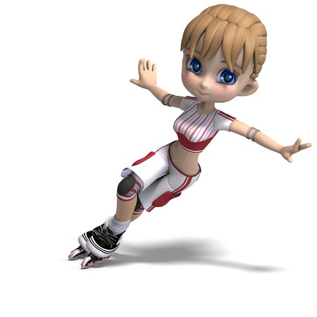 smart woman: cute cartoon girl with inline skates. 3D rendering with shadow over white Stock Photo