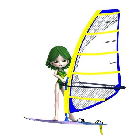 Fille de dessin animé doux debout sur une planche de surf. Rendu 3D avec ombre sur blanc  Banque d'images - 7431809