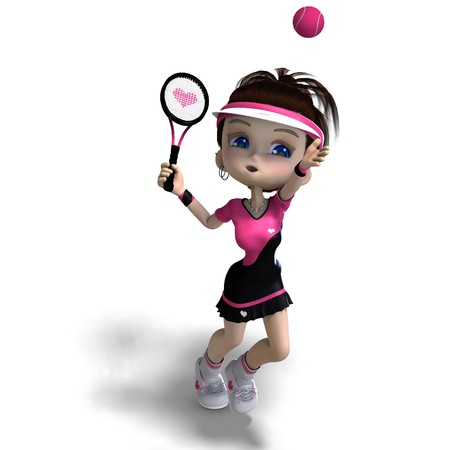 ni�a de toon deportivo en ropa Rosa juega tenis. Procesamiento de 3D con sombra sobre blanco