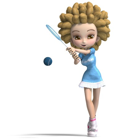 funny cartoon girl with curly hair plays tennis. 3D rendering with shadow over white photo