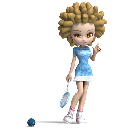 lassie: funny cartoon girl with curly hair plays tennis. 3D rendering with shadow over white Stock Photo