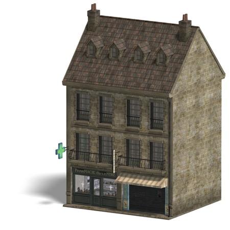 dispensary: City Building Pharmacy. Stock Photo