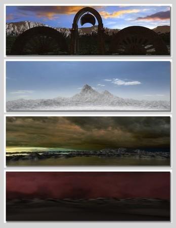 four different fantasy landscapes for banner, background or illustration. Stock Illustration - 7569985