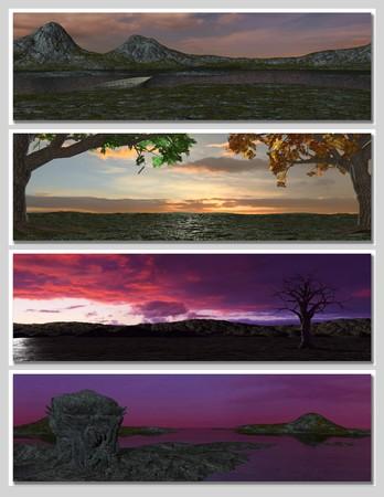 four different fantasy landscapes for banner, background or illustration. 3D rendering  Stock Illustration - 7569992